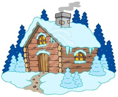 Winter cabin clipart
