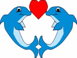 Kissing dolphins clip art at vector clip art online