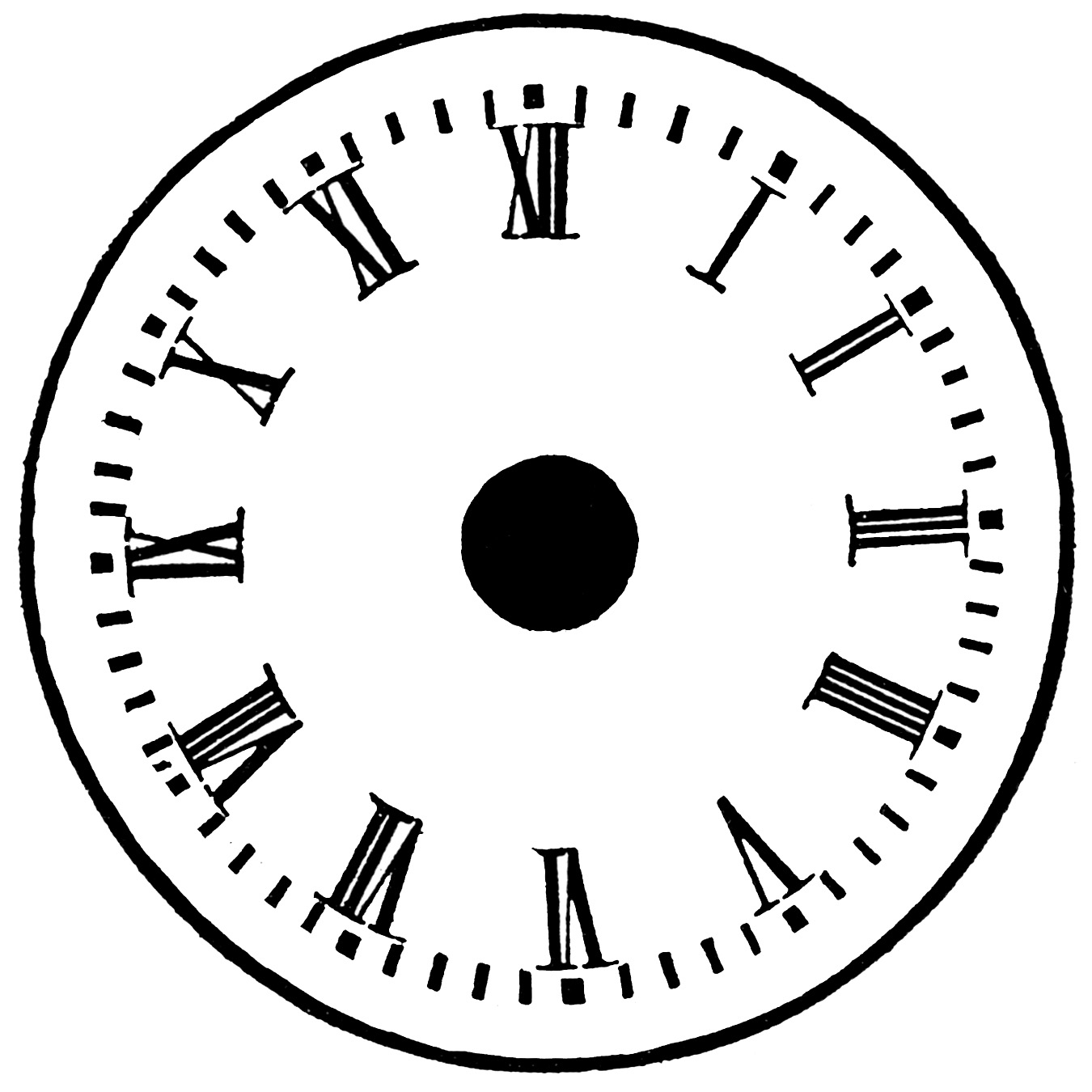 Printable blank clock face clipart 2 image #10692