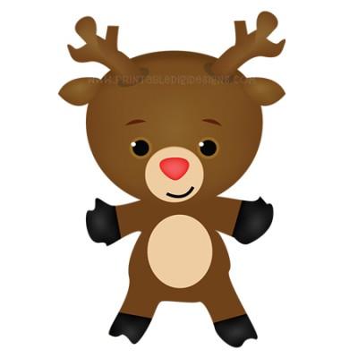 Reindeer christmas clipart singles printable digi designs
