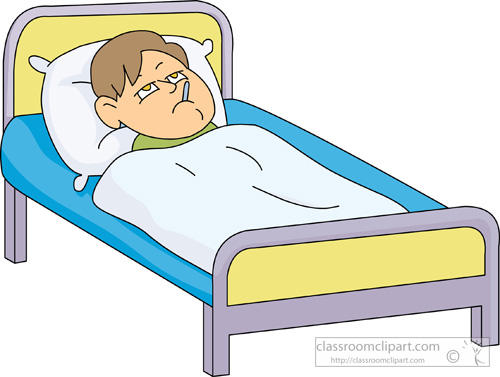 Boy sick in bed clipart