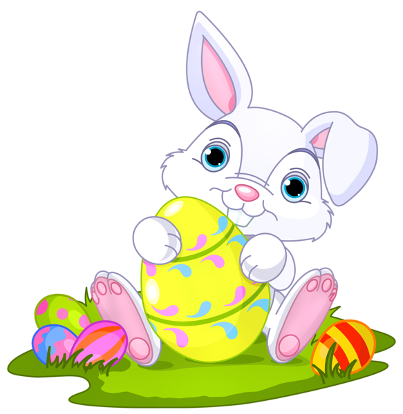 Easter bunny with eggs decor clipart picture 0
