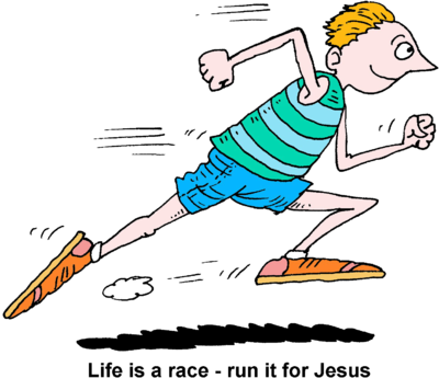 Image man running life is a race run it for jesus clipart