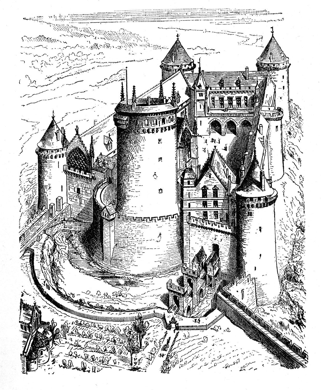 Vintage clip art castle the graphics fairy