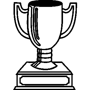 General artwork trophy first place cups plaques clipart lineart