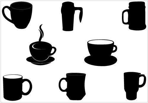 Coffee cup coffee mug silhouette clip art pack silhouette clip art