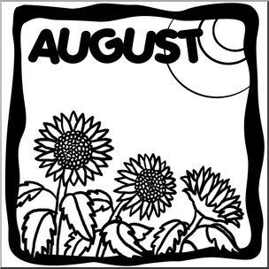 August clip art illustration