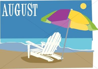 Beach chair and ubrella in august christian calendar clipart