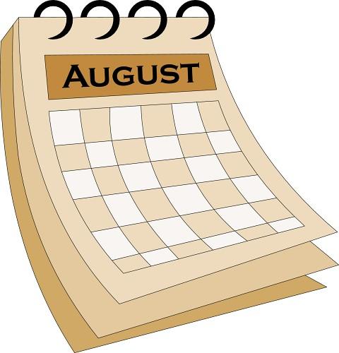 Calendar august 1 classroom clipart