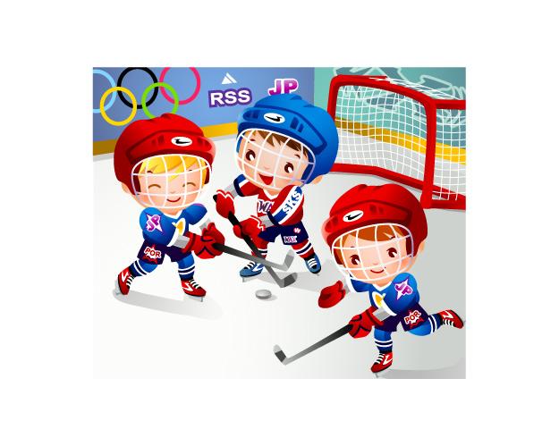 Children clip art hockey free vector