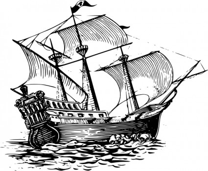 Galleon sail ship clip art free vector in open office drawing svg