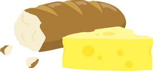 Cheese clipart image a loaf of french bread with a chunk of