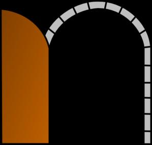 Open brown door clip art at vector clip art