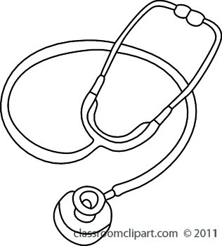 Stethoscope free black and white health outline clipart clip art pictures
