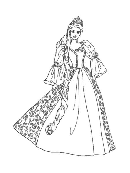 Barbie princess coloring pages free images at vector clipart