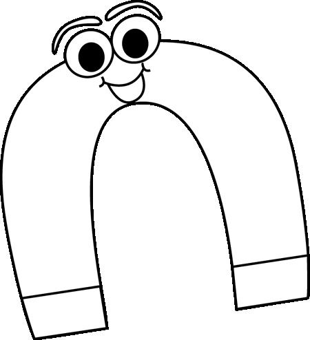 Black and white cartoon horseshoe magnet clip art black and