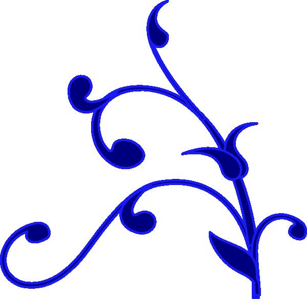 Blue outline flower vine clip art vector clip art