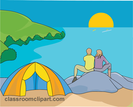Camping couple camping lake classroom clipart