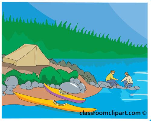 Camping lake clipart