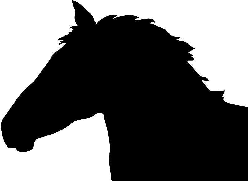 Silhouette horse head clipart