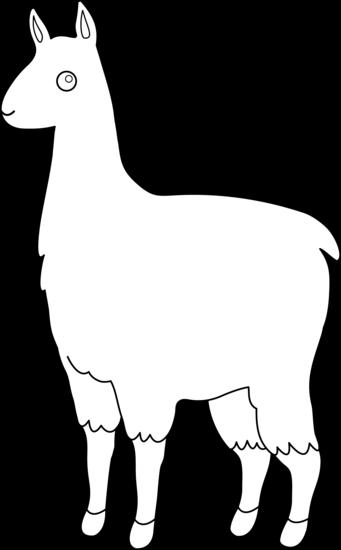 Cute llama line art free clip art