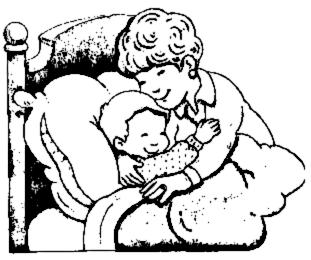 Hugs mom hugging son clipart