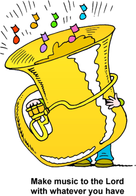 Image small person playing large tuba make music to the lord clip art