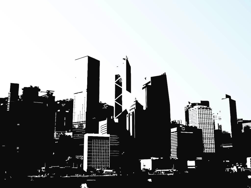 Cityscape hong kong skyline clip art