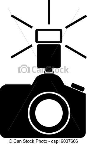 Clip art vecteur de appareil photo flash vecteur illustration