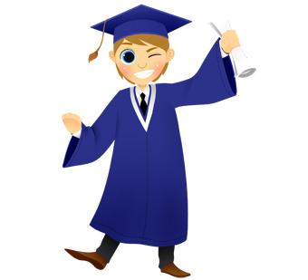 Graduation boy winking clipart