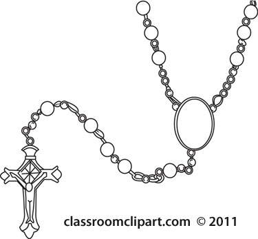 objects rosary bead2 outline classroom clipart image #21537