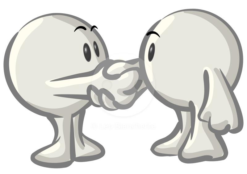 Of dot man blog character shaking hands clip art illustration
