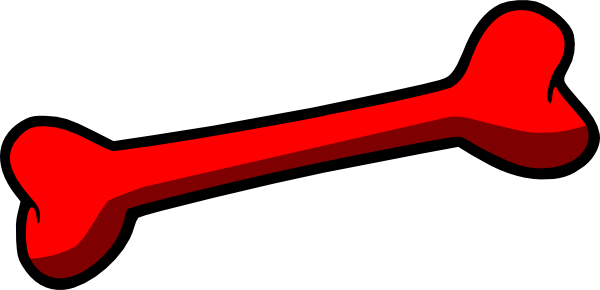 Red dog bone clip art at vector clip art