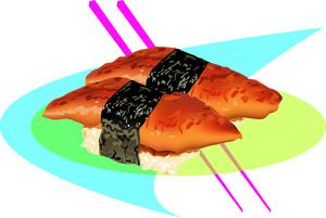 Sushi clipart image plate of tasty salmon sushi