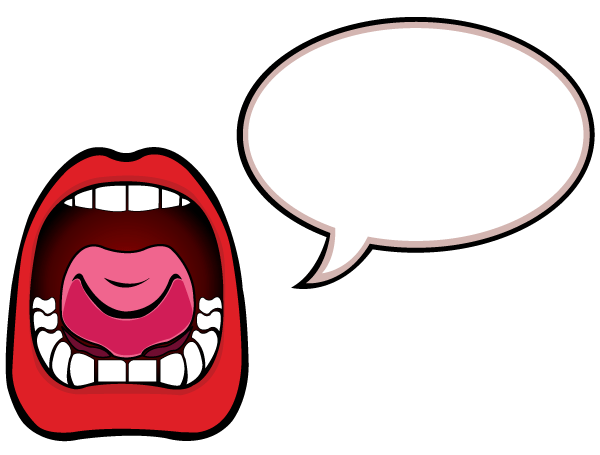 Word bubble open mouth with speech bubble vector art free vector graphics clipart