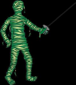 Green fencing mummy clip art at vector clip art