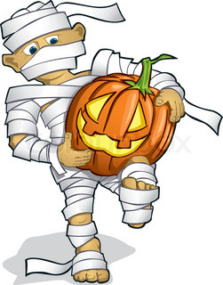 Illustration of halloween mummy in scary night vector clipart