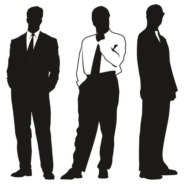 Silhouettes of businessman clipart
