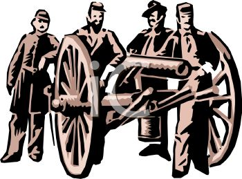 1 2 4 2 civil war soldiers posed by a cannon clipart image