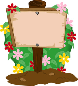 Garden clipart image wooden sign planted in a flower garden 2