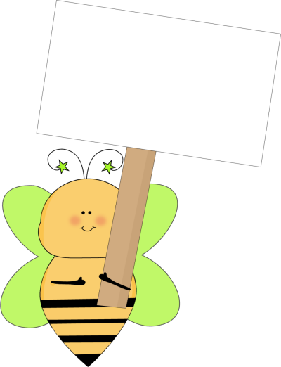 Green star bee holding a blank sign clip art green star bee