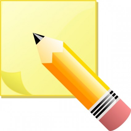 Jeremybennett sticky note pad and pencil clip art free vector in