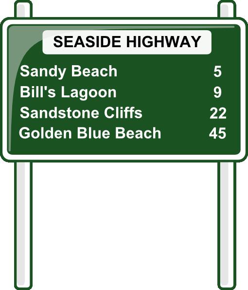 Road distances sign clip art free vector