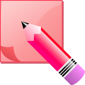 Sticky note pad and pencil vector clip art