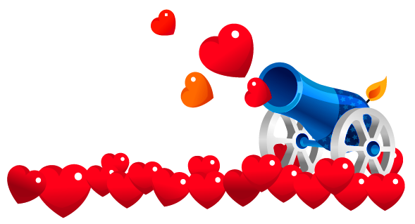 Valentines heart cannon clipart picture 0