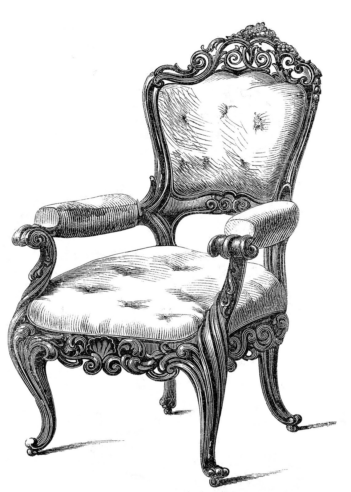 Vintage Clip Art 2 Fancy Chairs The Graphics Fairy Image