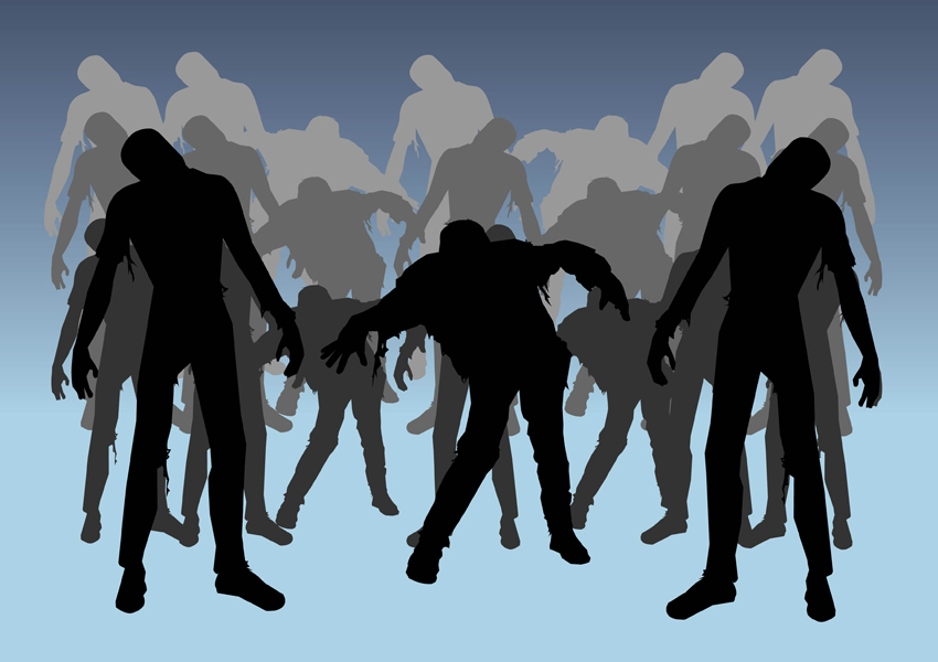 Zombies silhouettes clip art