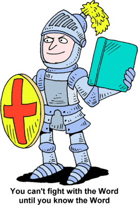 Image knight in armor holding up shield and bible clip art