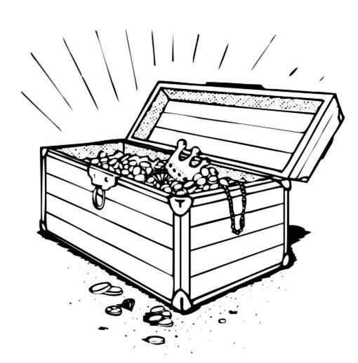 Image treasure chest clipart black and white 3