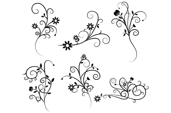 Flower flourish swirl clipart illustrations on creative market
